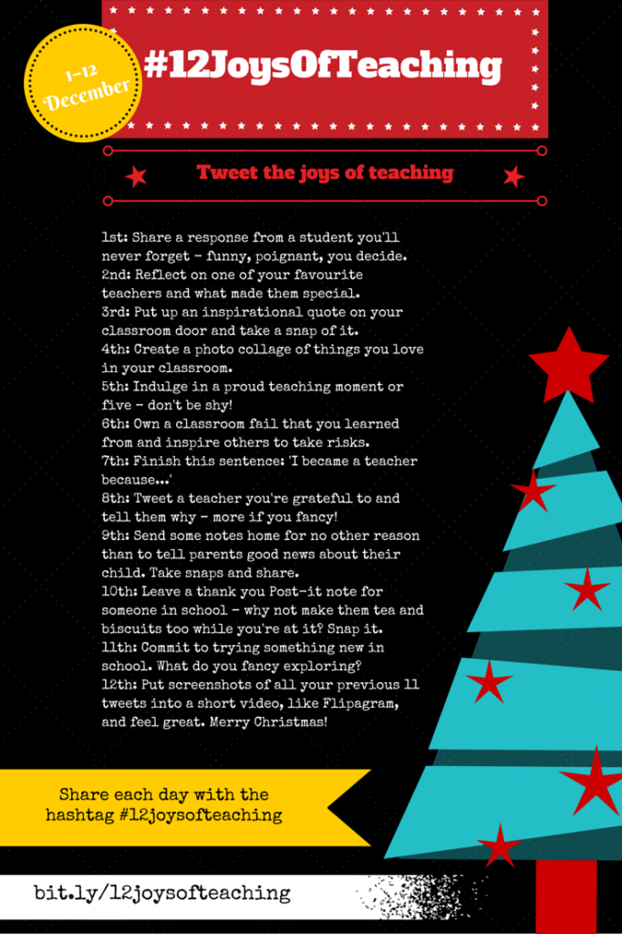 Tweet the joys of teaching for 12 days